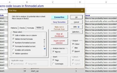 Find hidden cells and risky macros